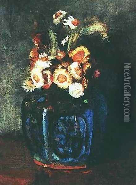 Ginger Jar Filled With Chrysanthemums Oil Painting - Vincent Van Gogh
