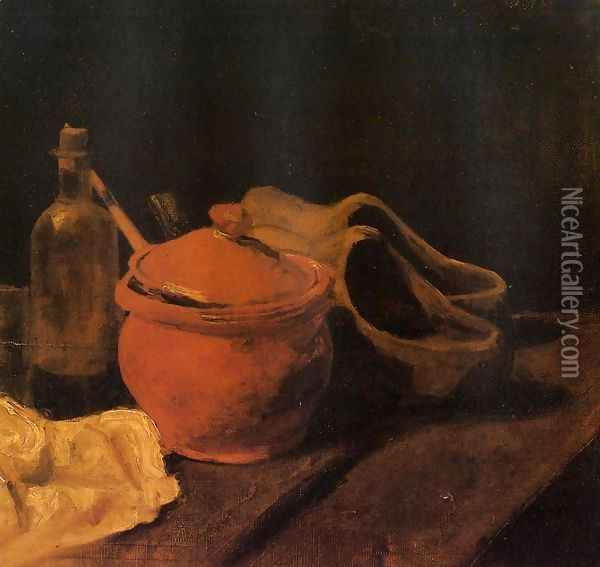 Still Life With Earthenware Bottle And Clogs Oil Painting - Vincent Van Gogh