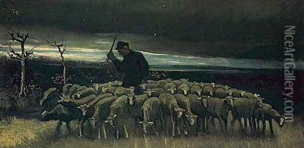 Shepherd With A Flock Of Sheep Oil Painting - Vincent Van Gogh