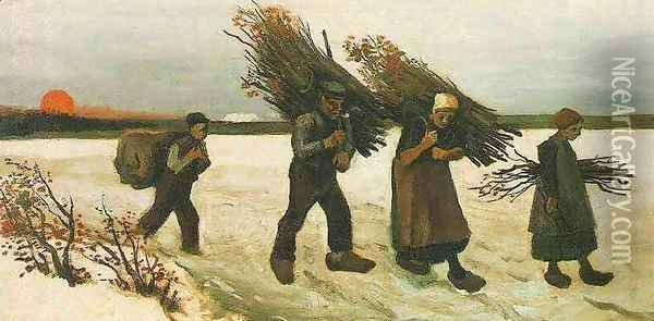 Wood Gatherers In The Snow Oil Painting - Vincent Van Gogh