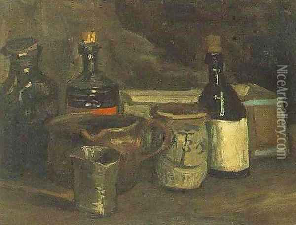 Still Life With Bottles And Earthenware Oil Painting - Vincent Van Gogh