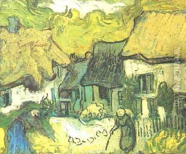 Thatched Cottages In Jorgus Oil Painting - Vincent Van Gogh