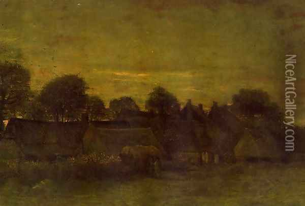 Village At Sunset Oil Painting - Vincent Van Gogh