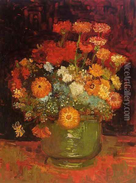 Vase with Zinnias Oil Painting - Vincent Van Gogh