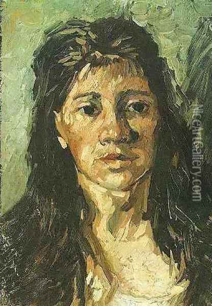 Head Of A Woman With Her Hair Loose Oil Painting - Vincent Van Gogh
