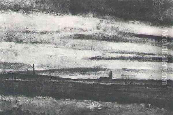 Landscape With A Church At Twilight Oil Painting - Vincent Van Gogh