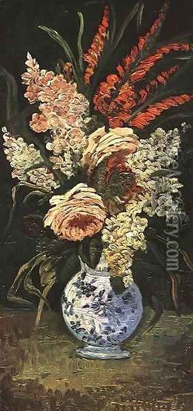 Vase With Gladioli And Lilac Oil Painting - Vincent Van Gogh