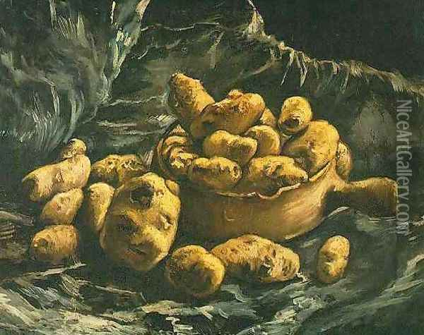 Still Life With An Earthen Bowl And Potatoes Oil Painting - Vincent Van Gogh