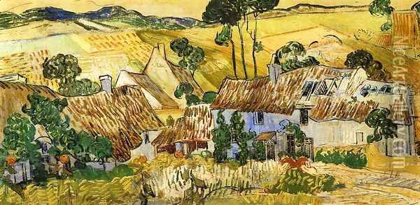 Thatched Houses against a Hill Oil Painting - Vincent Van Gogh