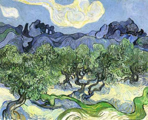 The Alpilles with Olive Trees in the Foreground Oil Painting - Vincent Van Gogh