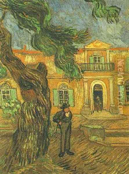 Pine Trees With Figure In The Garden Of Saint Paul Hospital Oil Painting - Vincent Van Gogh