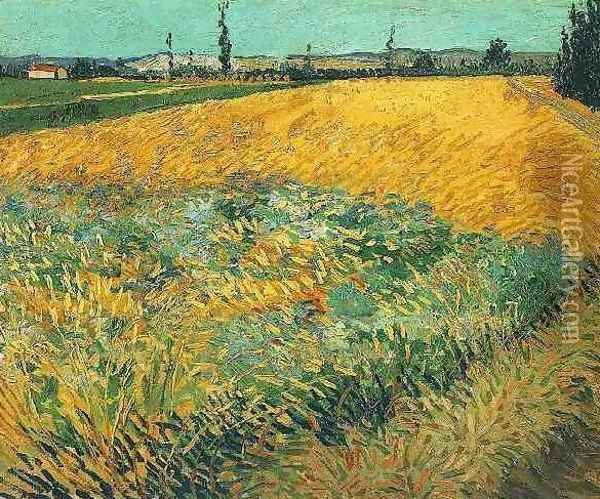 Wheat Field With The Alpilles Foothills In The Background Oil Painting - Vincent Van Gogh