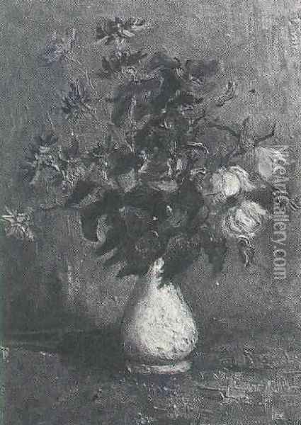White Vase With Roses And Other Flowers Oil Painting - Vincent Van Gogh