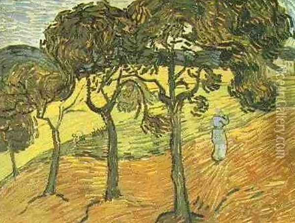 Landscape With Trees And Figures Oil Painting - Vincent Van Gogh