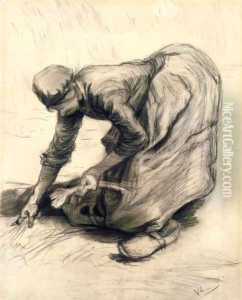 Peasant Woman Gleaning Oil Painting - Vincent Van Gogh