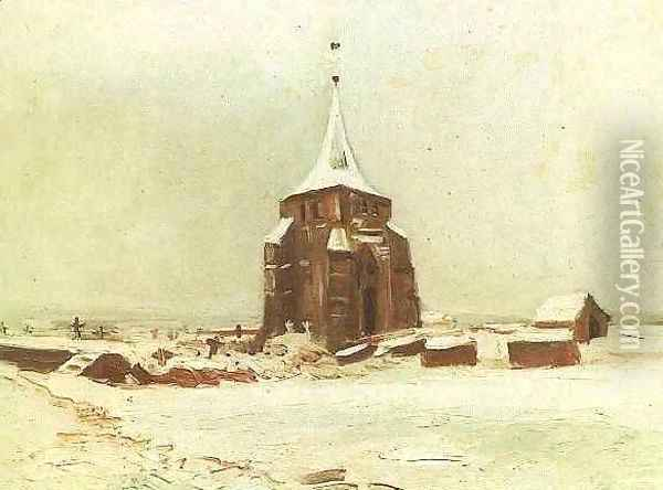 The Old Cemetery Tower At Nuenen In The Snow Oil Painting - Vincent Van Gogh