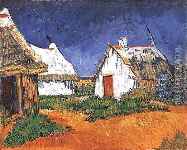 Three White Cottages In Saintes Maries Oil Painting - Vincent Van Gogh