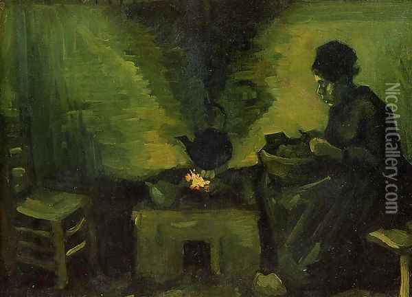 Peasant Woman by the Fireplace Oil Painting - Vincent Van Gogh