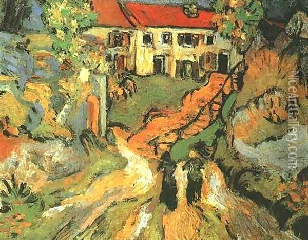 Village Street And Steps In Auvers With Two Figures Oil Painting - Vincent Van Gogh