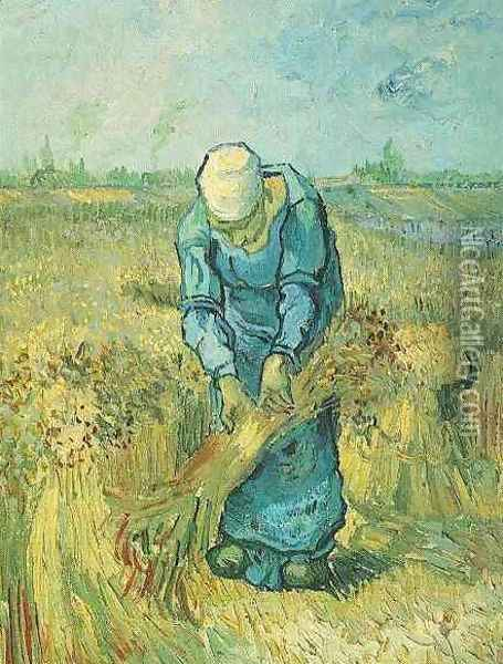 Peasant Woman Binding Sheaves (after Millet) Oil Painting - Vincent Van Gogh
