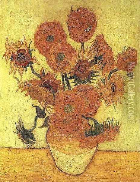 Vase With Fifteen Sunflowers III Oil Painting - Vincent Van Gogh