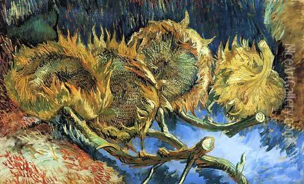 Still Life with Four Sunflowers Oil Painting - Vincent Van Gogh