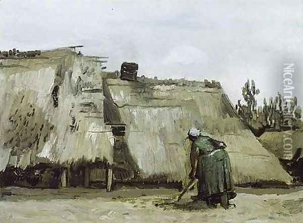 Peasant Woman Digging In Front Of Her Cottage Oil Painting - Vincent Van Gogh