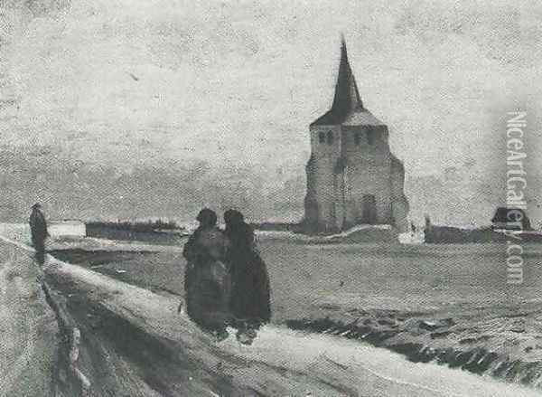 The Old Tower Of Nuenen With People Walking Oil Painting - Vincent Van Gogh