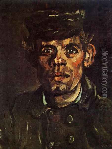 Head Of A Young Peasant In A Peaked Cap Oil Painting - Vincent Van Gogh