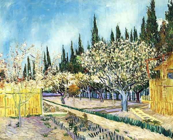 Orchard Surrounded by Cypresses Oil Painting - Vincent Van Gogh