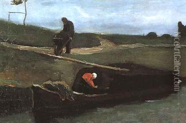 Peat Boat With Two Figures Oil Painting - Vincent Van Gogh