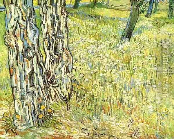 Pine Trees And Dandelions In The Garden Of Saint Paul Hospital Oil Painting - Vincent Van Gogh