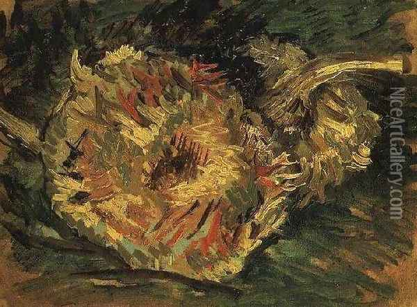 Two Cut Sunflowers Oil Painting - Vincent Van Gogh