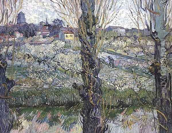 Orchard In Blossom With View Of Arles Oil Painting - Vincent Van Gogh