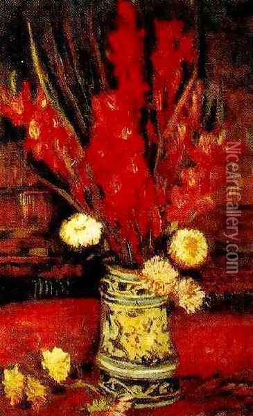 Vase With Red Gladioli II Oil Painting - Vincent Van Gogh