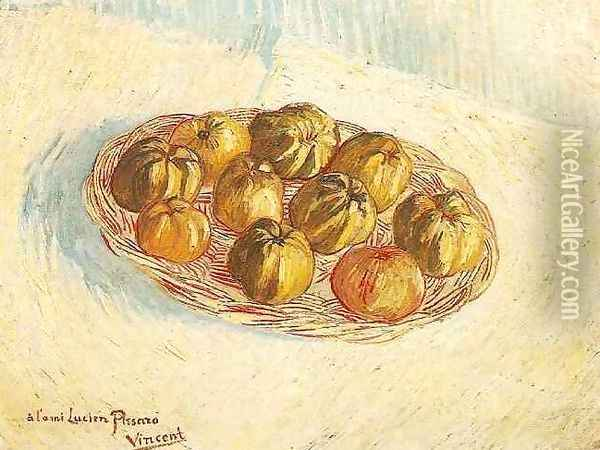 Still Life With Basket Of Apples (to Lucien Pissarro) Oil Painting - Vincent Van Gogh