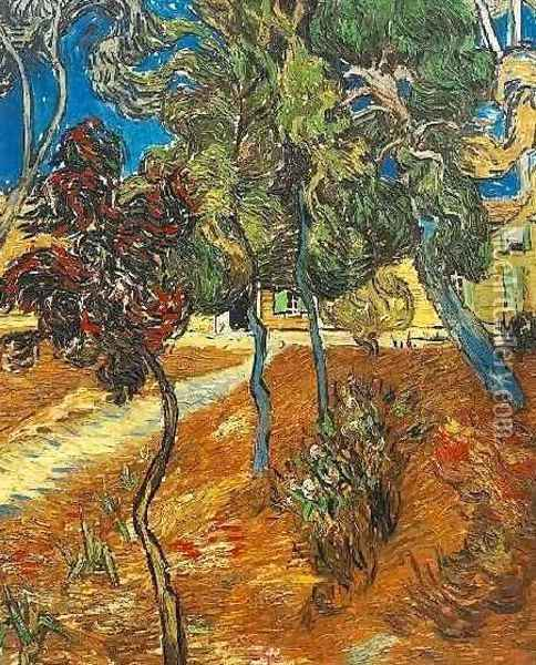 Trees In The Garden Of Saint Paul Hospital IV Oil Painting - Vincent Van Gogh