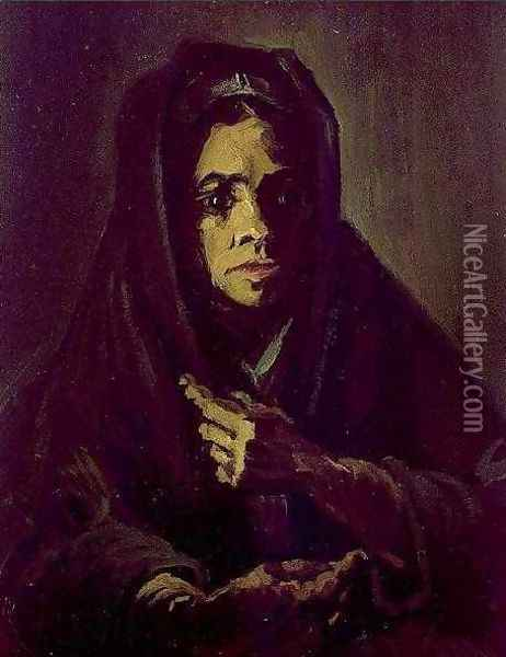 Woman With A Mourning Shawl Oil Painting - Vincent Van Gogh