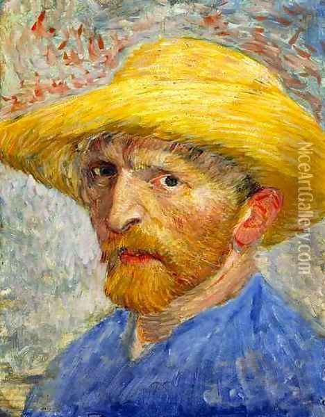 Self Portrait With Straw Hat IV Oil Painting - Vincent Van Gogh