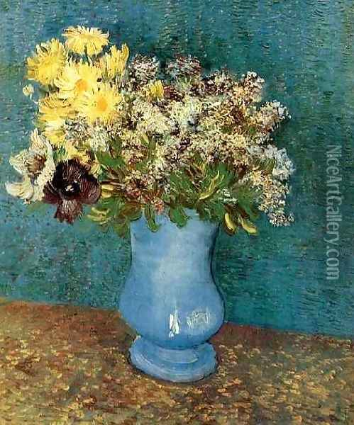 Vase With Lilacs Daisies And Anemones Oil Painting - Vincent Van Gogh