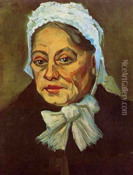 Head Of An Old Woman With White Cap (The Midwife) Oil Painting - Vincent Van Gogh