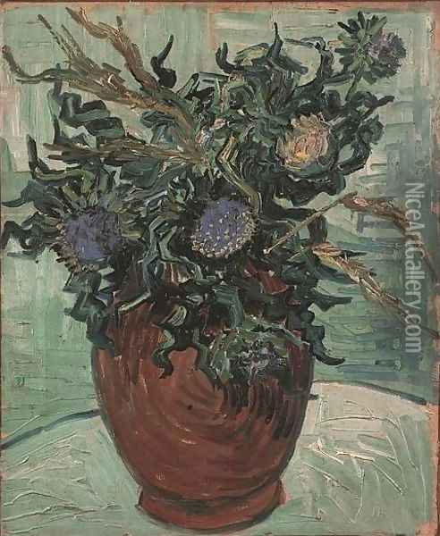 Vase With Flower And Thistles Oil Painting - Vincent Van Gogh