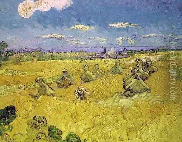 Wheat Stacks With Reaper Oil Painting - Vincent Van Gogh