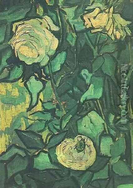 Roses And Beetle Oil Painting - Vincent Van Gogh