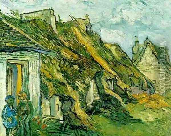 Thatched Sandstone Cottages In Chaponval Oil Painting - Vincent Van Gogh