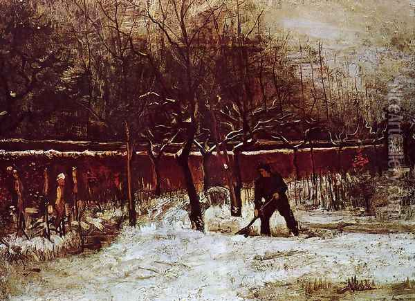 The Parsonage Garden at Nuenen in the Snow Oil Painting - Vincent Van Gogh