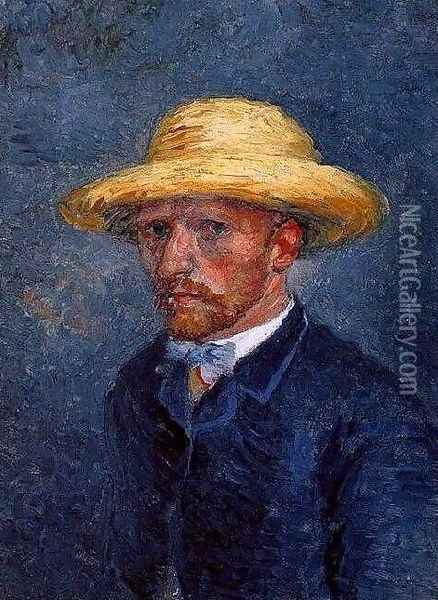 Self Portrait With Straw Hat Oil Painting - Vincent Van Gogh