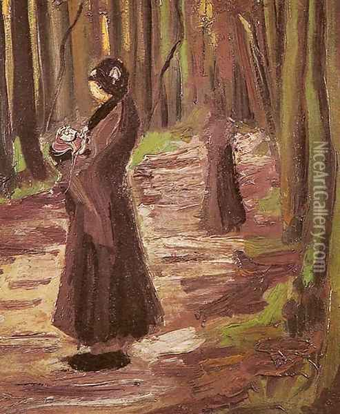 Two Women In The Woods Oil Painting - Vincent Van Gogh