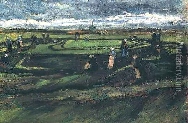 Women Mending Nets In The Dunes Oil Painting - Vincent Van Gogh