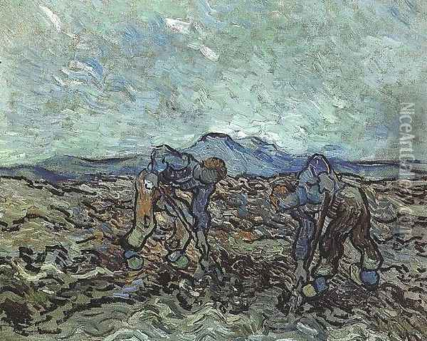 Peasants Lifting Potatoes Oil Painting - Vincent Van Gogh